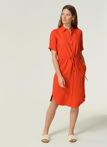 NGSTYLE Kadın Bel Bağcık Detaylı Elbise NGKSS21EL0029 Mercan